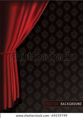Red Curtains Background. - stock vector