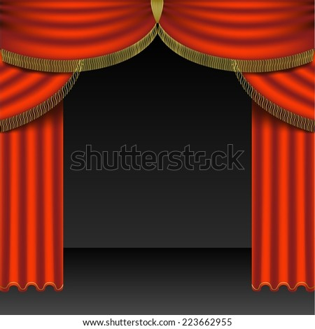 Red Curtains Colored Background Illustration Vector Stock Vector ...
