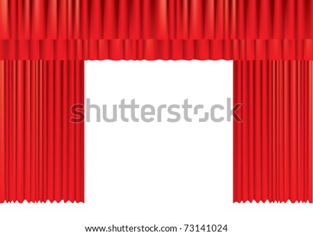 Red curtains on white for design - stock vector
