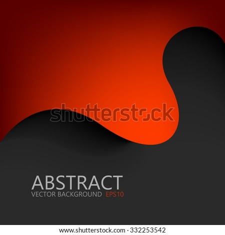 Red curve line vector background on black space for text and message design - stock vector