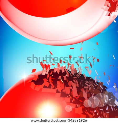 Red 3D balls with flares exploded into messy pieces - stock vector