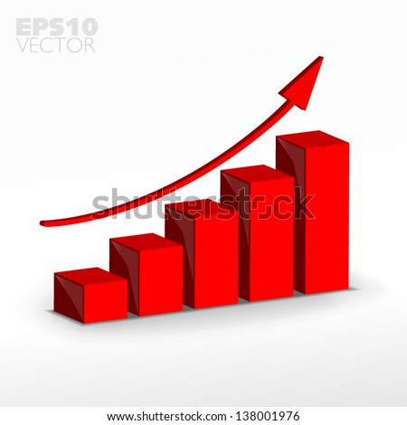 Red 3D business decline graph - stock vector