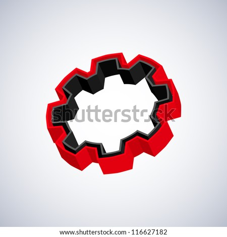 Red 3D gear - stock vector