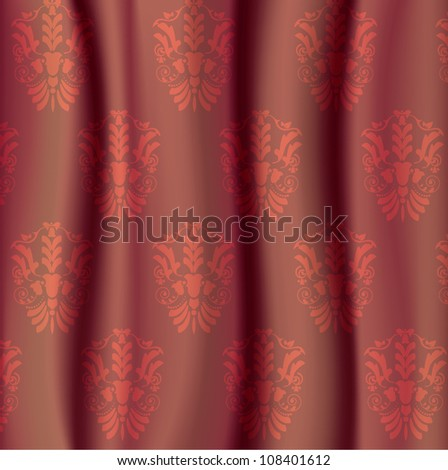 red damask glamour curtain background - stock vector