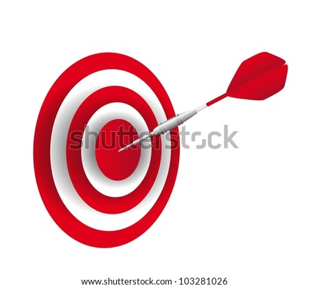 red dart with dartboard isolated over white background. vector