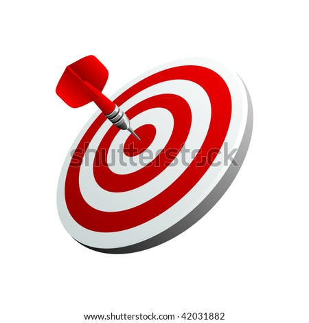 Red darts - stock vector