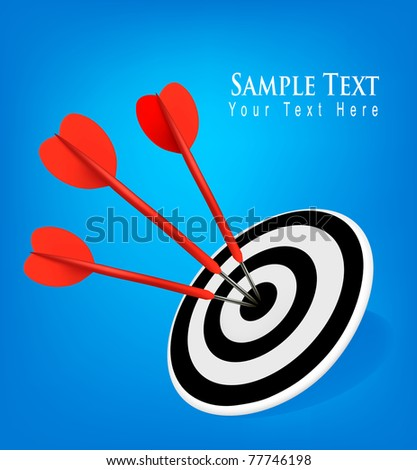 Red darts hitting a target. Success concept. Vector illustration - stock vector