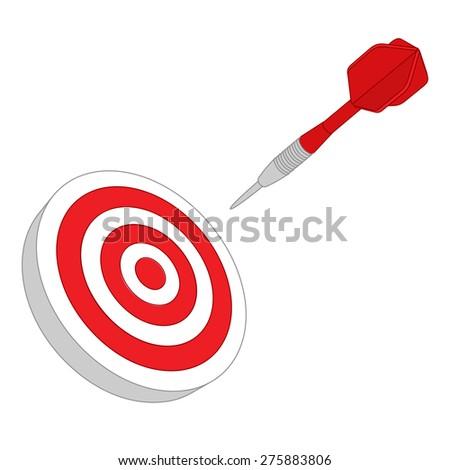 Red darts target aim - stock vector