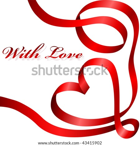 Red decoration ribbon curled in heart shape isolated on white background. - stock vector