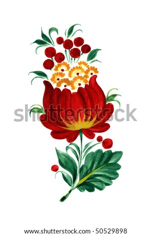 Red decorative flower on the white background eps10 - stock vector