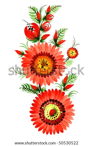 Red decorative flowers on the white background eps10 - stock vector