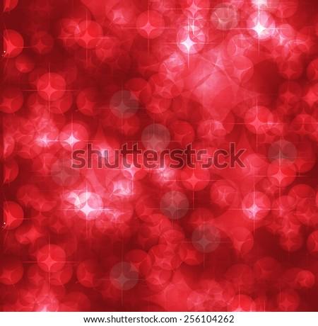 red Defocused Light, Flickering Lights, Vector abstract festive background with bokeh defocused lights. - stock vector
