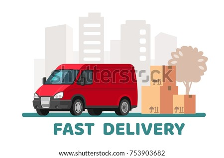 Red delivery van with cardboard boxes with fragile signs. Vector flat