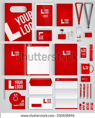 Red design template of corporate identity  with big set of business stationery. Vector illustration - stock vector
