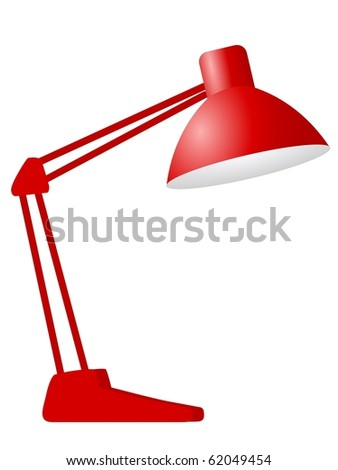 red desk lamp - stock vector