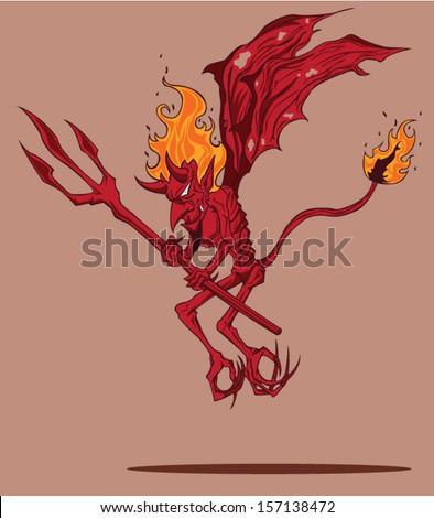 Red Devil. Halloween Monster - stock vector