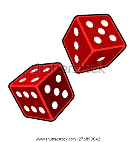 Red Dice Cubes on White Background. Vector - stock vector