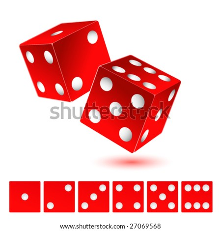 Red dice icon - stock vector