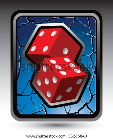 red dice on cracked web icon - stock vector