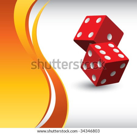 red dice on orange wave background - stock vector