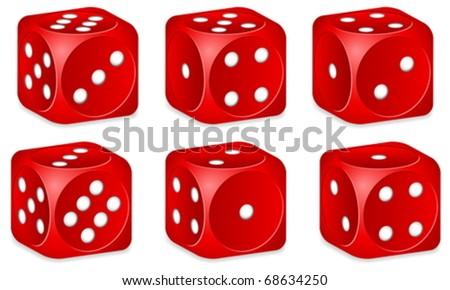 Red dice set on white background. Vector illustration.