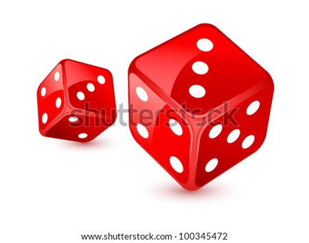 Red dices - stock vector