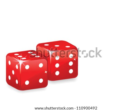 Red dices over white background - stock vector