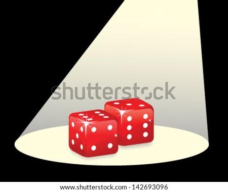 Red dices under spotlight - stock vector