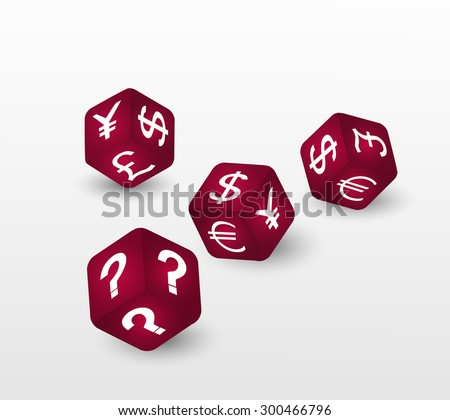 Red dices with euro, dollar, pound and yen currency sign and question. - stock vector