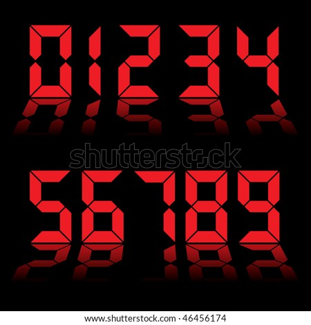 Red digital clock readout with numbers reflected in black background