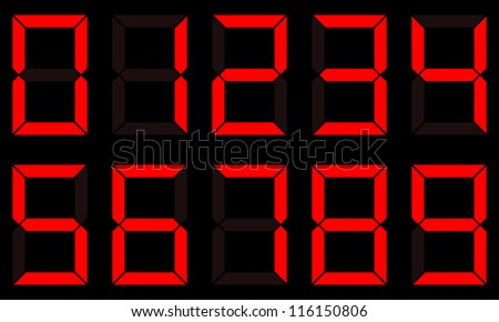 Red digital vector numbers set on black background. Arial font. - stock vector