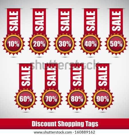 red discount shopping tags with sale word - stock vector