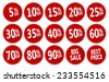 red discount stickers set. vector collection, you can simply change color and size - stock vector