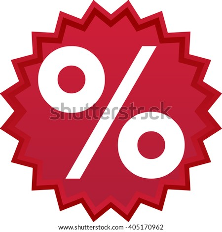 Red discount symbol, star with percentage inside - stock vector