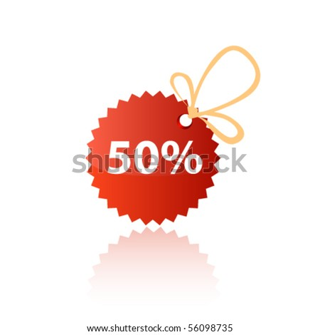 Red discount tag. Vector - stock vector