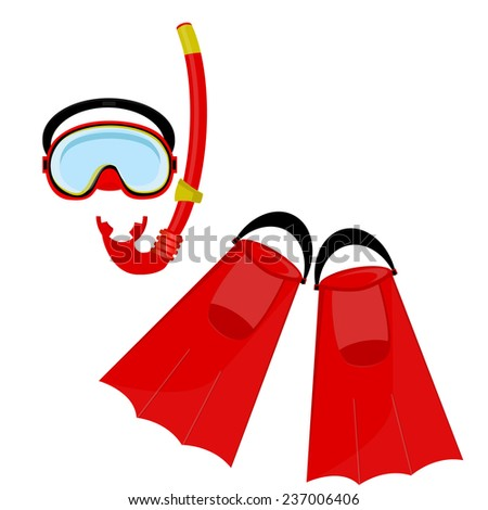 Red diving mask, diving tube, swimming equipment, flippers - stock vector