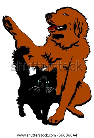 Red dog and black cat - stock vector