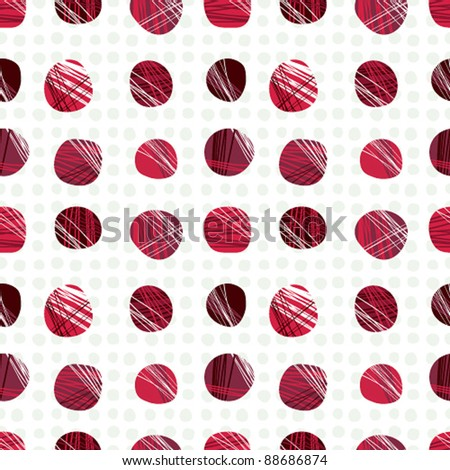 Red dots seamless pattern, vector background. - stock vector