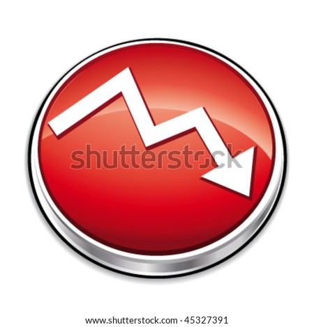 Red down financial curve button. Vector illustration. - stock vector