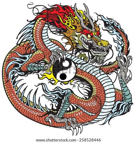 red dragon holding yin yang symbol, tattoo illustration