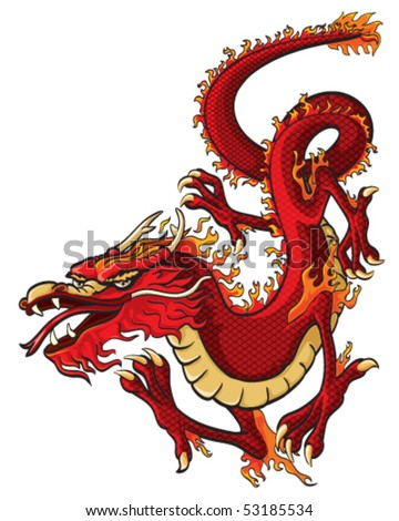 Red dragon vector - stock vector