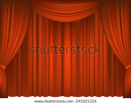 Red Draped Theater. - stock vector