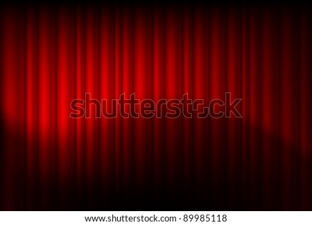 Red drapes reflected. Illustration of the designer - stock vector
