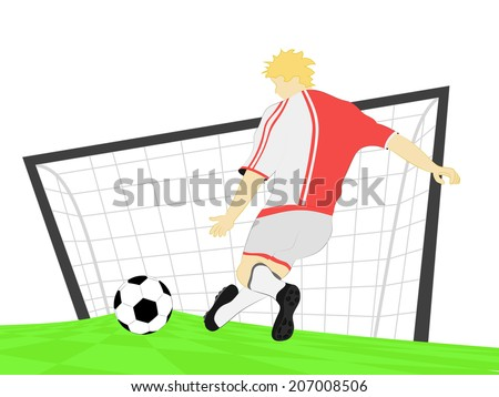 red dress football player shooting penalty kick vector illustration - stock vector