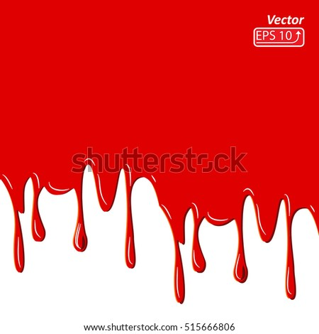 Red dripped blood. Halloween concept: Border, isolated on white background vector illustration