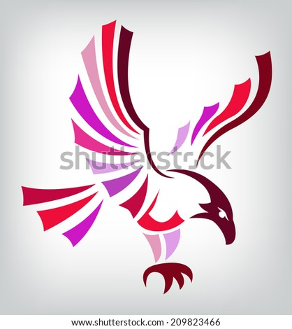 Red eagle isolated on white background for mascot or emblem design, also a tattoo. - stock vector