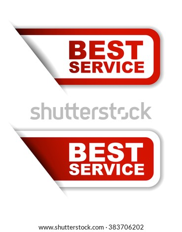Red easy vector illustration isolated horizontal banner best service two versions. This element is well adapted to web design.