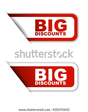Red easy vector illustration isolated horizontal banner big discounts two versions. This element is well adapted to web design. - stock vector