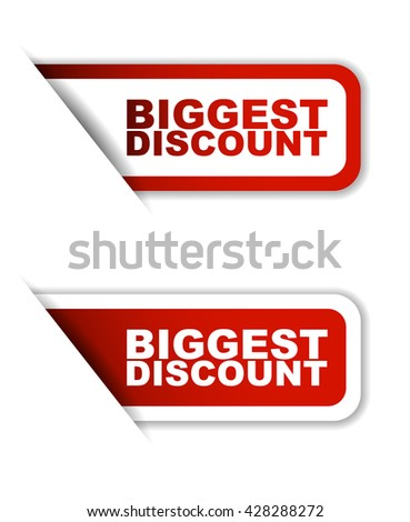 Red easy vector illustration isolated horizontal banner biggest discount two versions. This element is well adapted to web design.