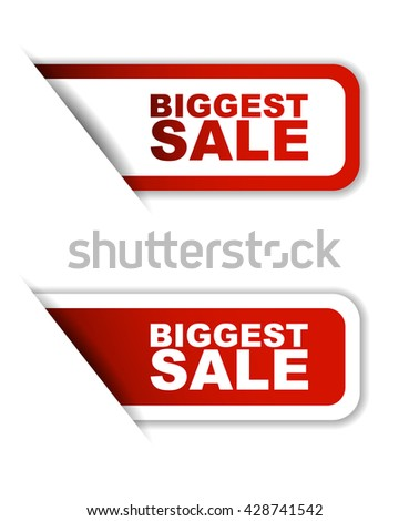 Red easy vector illustration isolated horizontal banner biggest sale two versions. This element is well adapted to web design. - stock vector